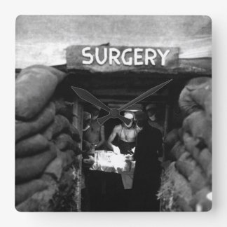 In an underground surgery room, behind_War Image Square Wall Clock