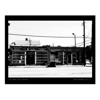 In and Out Mart Urban Street Scene Postcard
