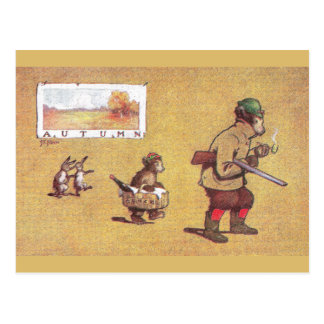In Autumn Teddy Bears Go Hunting Postcard