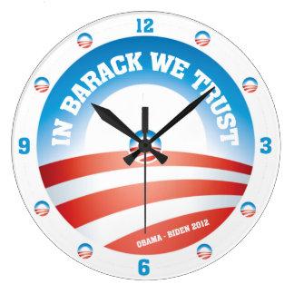 In Barack We Trust Wall Clock