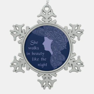 In Beauty Snowflake Pewter Christmas Ornament