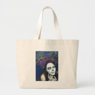 In Between, Day of the Dead Woman, Skull Make-up Large Tote Bag