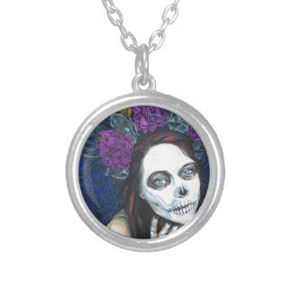 In Between, Day of the Dead Woman, Skull Make-up Round Pendant Necklace
