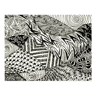in Black and White -Abstract Manatee Postcard