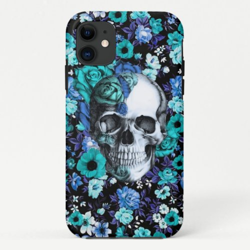 In bloom blue floral skull iPhone 11 case