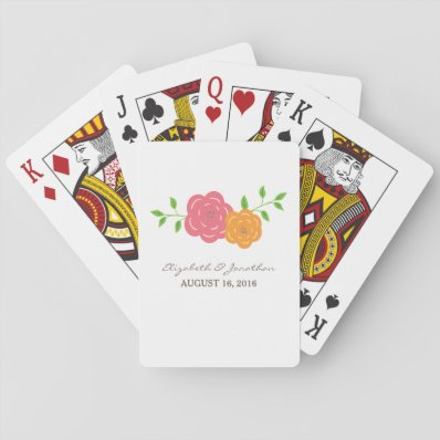 In Bloom Red Orange Wedding Playing Cards
