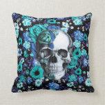 In bloom, teal rose skull pillow