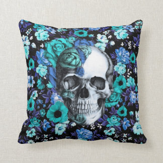 In bloom, teal rose skull throw pillow