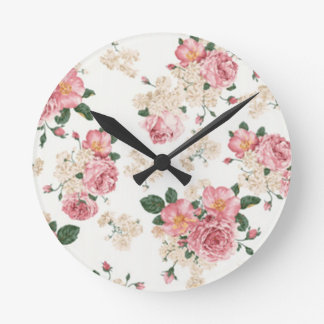 In bloom white and pink florals. round clock
