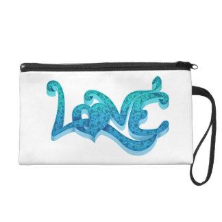 In blue love wristlet purse