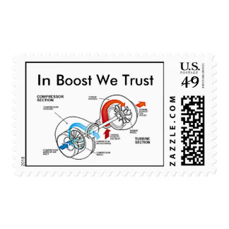 In Boost We Trust postage stamps