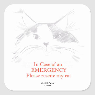 In case of an Emergency- Please rescue my cat Square Sticker