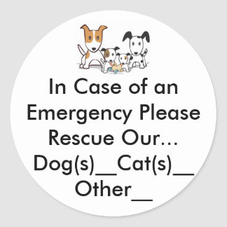 In Case of an Emergency Please Rescue Our Pets Sticker
