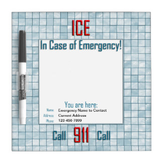 In Case of Emergency Call 911 Template Dry Erase Board