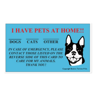 """In Case Of Emergency, I Have Pets At Home"" Cards"