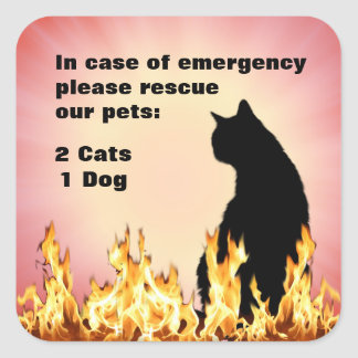 In Case of Emergency rescue our Pets Square Sticker