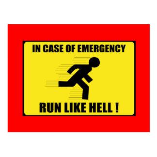 In Case Of Emergency ... Run Like Hell Postcard