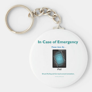in case of emergency save my ipad basic round button keychain