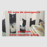 In case of emergency save our cat rectangular stickers