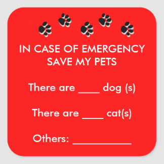 In Case of Emergency Save Pets Sticker