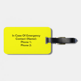 In Case Of Emergency Tag Luggage Tag