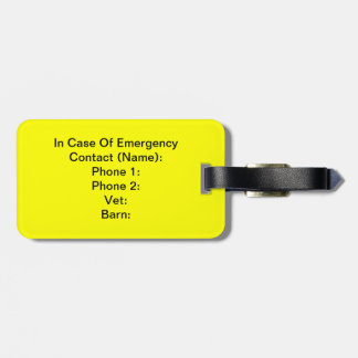 In Case Of Emergency Tag Luggage Tags