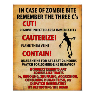 IN CASE OF ZOMBIE BITE poster Angry Johnny