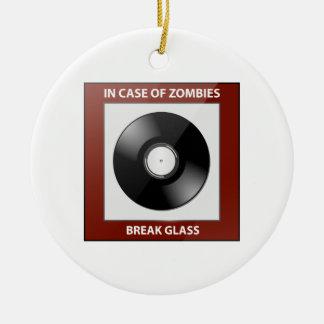 In Case Of Zombies Break Glass Ceramic Ornament