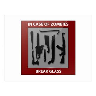 In Case Of Zombies Break Glass Postcards