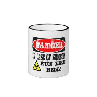 In case of zombies run like hell! ringer mug