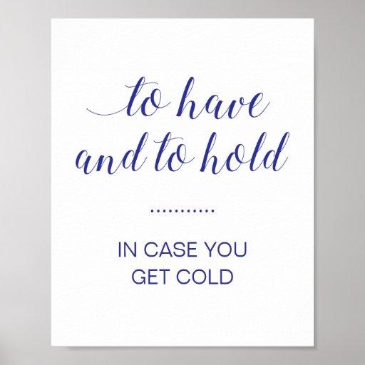 In Case You Get Cold Navy Blue Wedding Blanket Poster
