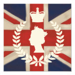 In Celebration of HM QE2 Diamond Jubilee  on ivory 5.25x5.25 Square Paper Invitation Card