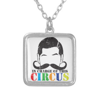 In charge of this circus distressed rough version square pendant necklace