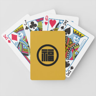 In circle angular letter of luck bicycle playing cards
