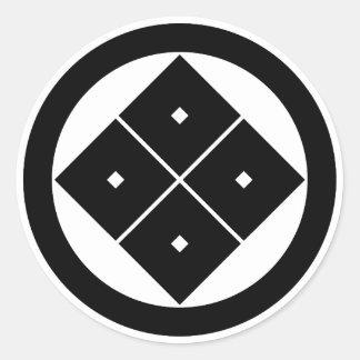 In circle corner raising four squares classic round sticker