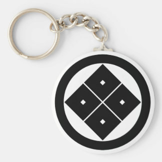 In circle corner raising four squares basic round button keychain