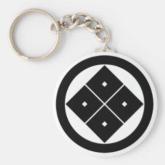 In circle corner raising four squares key chain