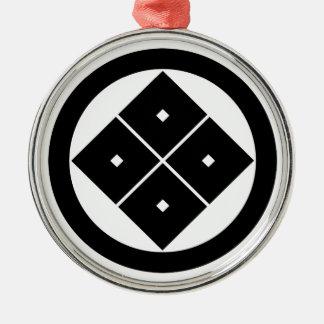 In circle corner raising four squares metal ornament