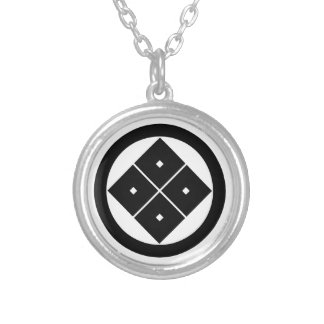 In circle corner raising four squares silver plated necklace