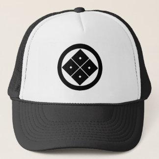 In circle corner raising four squares trucker hat