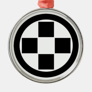 In circle four stones round metal christmas ornament
