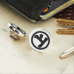 In circle letter above lapel pin