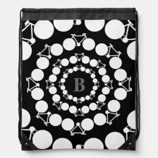 in circles b&w bicycles personalized initial backpack