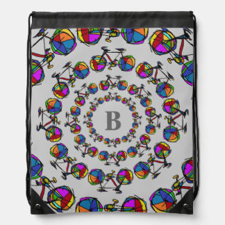 in circles color bicycles personalized initial cinch bag