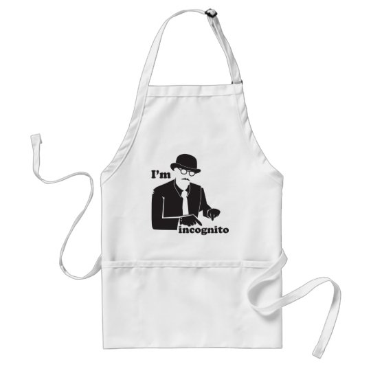 IN cognito man in a suit with a bowler hat Adult Apron