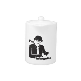 IN cognito man in a suit with a bowler hat Teapot