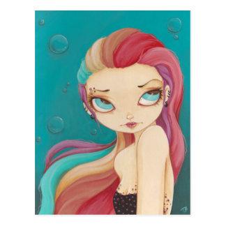 In Color - fairy mermaid punk rainbow post card
