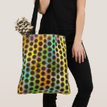 in colors with black small balls and spots tote bag