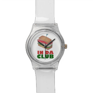 In Da Club Turkey Club Sandwich Funny Foodie Diner Wrist Watch