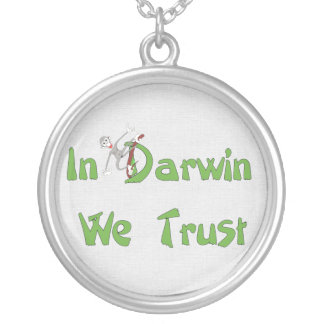 In Darwin We Trust Round Pendant Necklace
